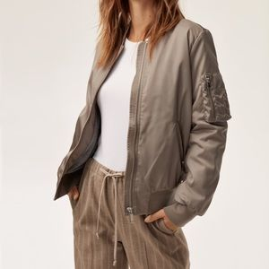 NWT Aritzia Group Bomber Jacket in Taupe Size S